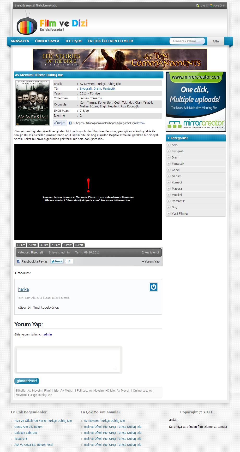 Keremiya wordpress film ve dizi teması ücretsiz